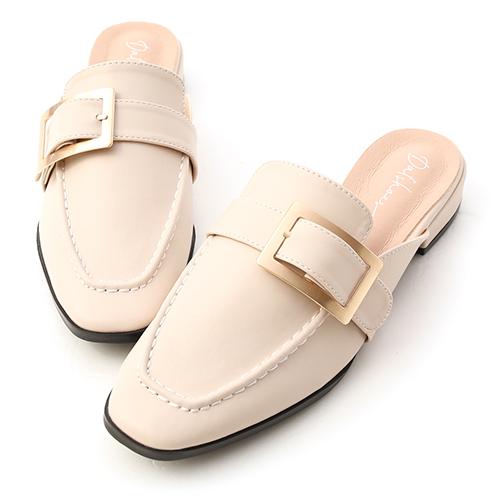 文青步調.質感大方釦低跟穆勒鞋