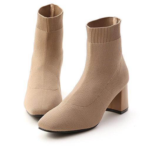 D+AF 唯美氣質.彈力針織方頭中跟襪靴