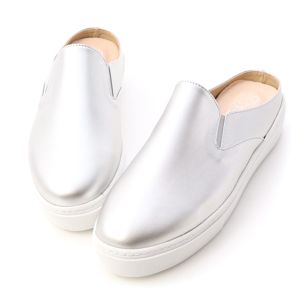 MIT Plain Casual Slip-on Mules Silver