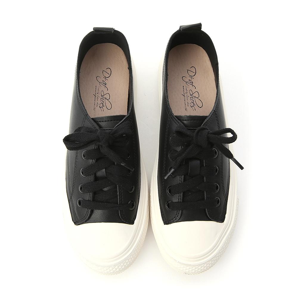樂活假期.柔軟皮革綁帶休閒鞋 時尚黑