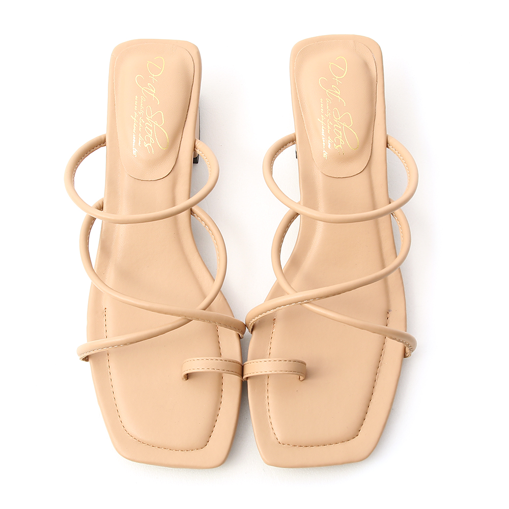 Square Toe Strappy Toe Loop Sandals Nude pink