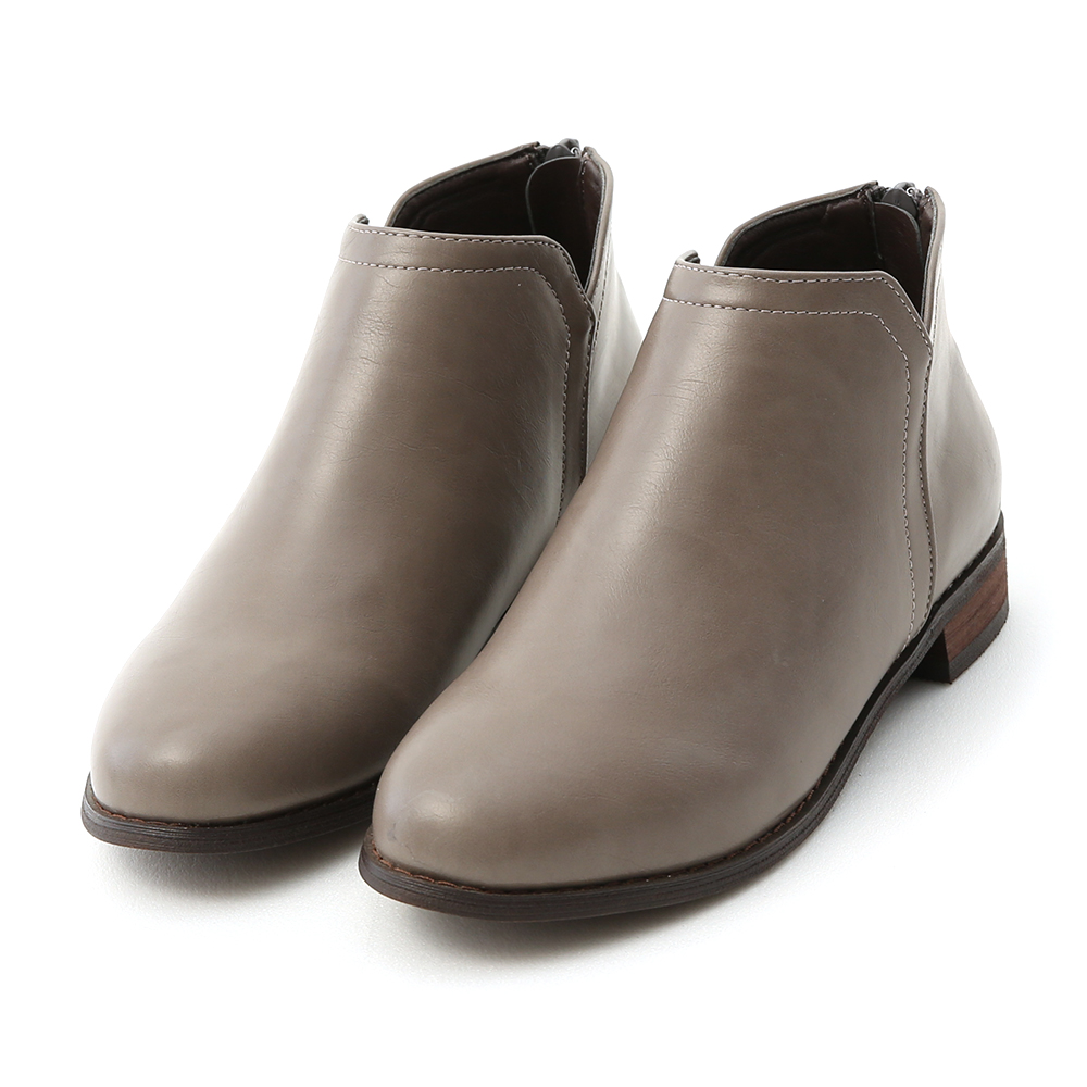 Side V-cut Stacked Heel Boots Grey