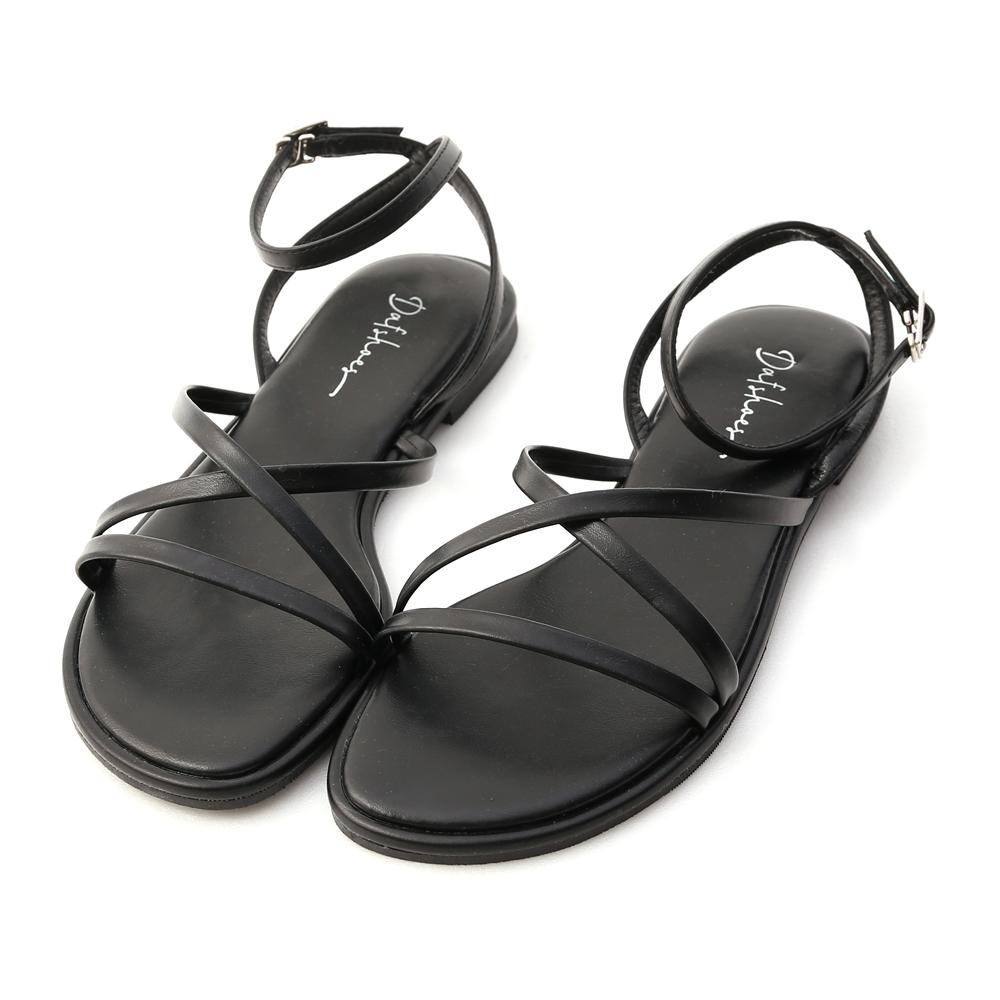 夏天的風.細帶交叉平底涼鞋 時尚黑