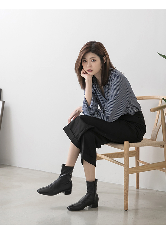 Square Toe Low Heel Sock Boots Black