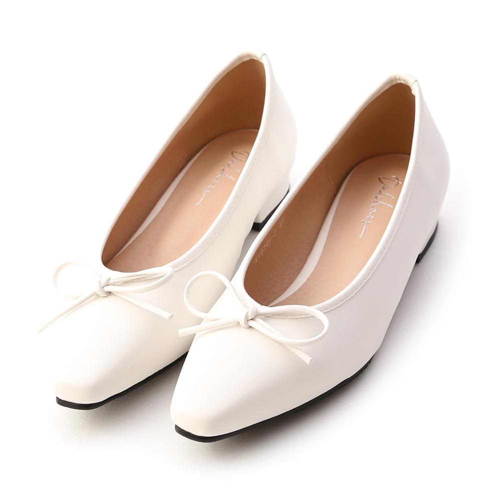 漫步女孩.尖頭低跟芭蕾娃娃鞋 人氣白