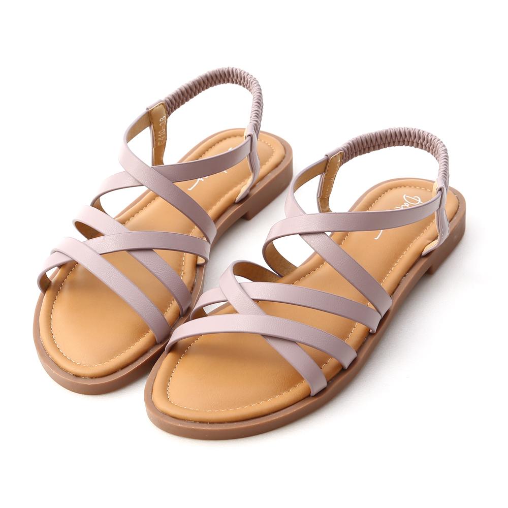 Soft Faux Leather Cross Straps Sandals Lavender