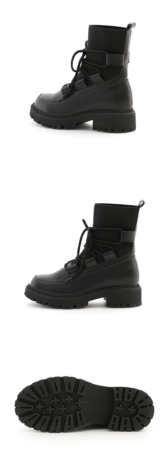 時髦出擊.針織拼接鬆糕底綁帶靴 時尚黑