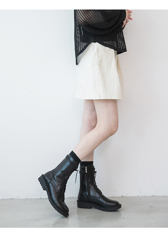 Lace-Up Mid Calf Combat Boots Black