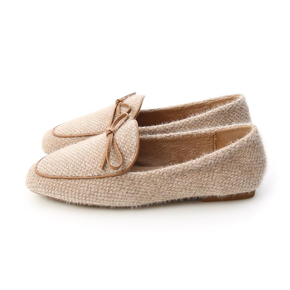溫暖氛圍.小蝴蝶結毛呢料樂福鞋 香草米