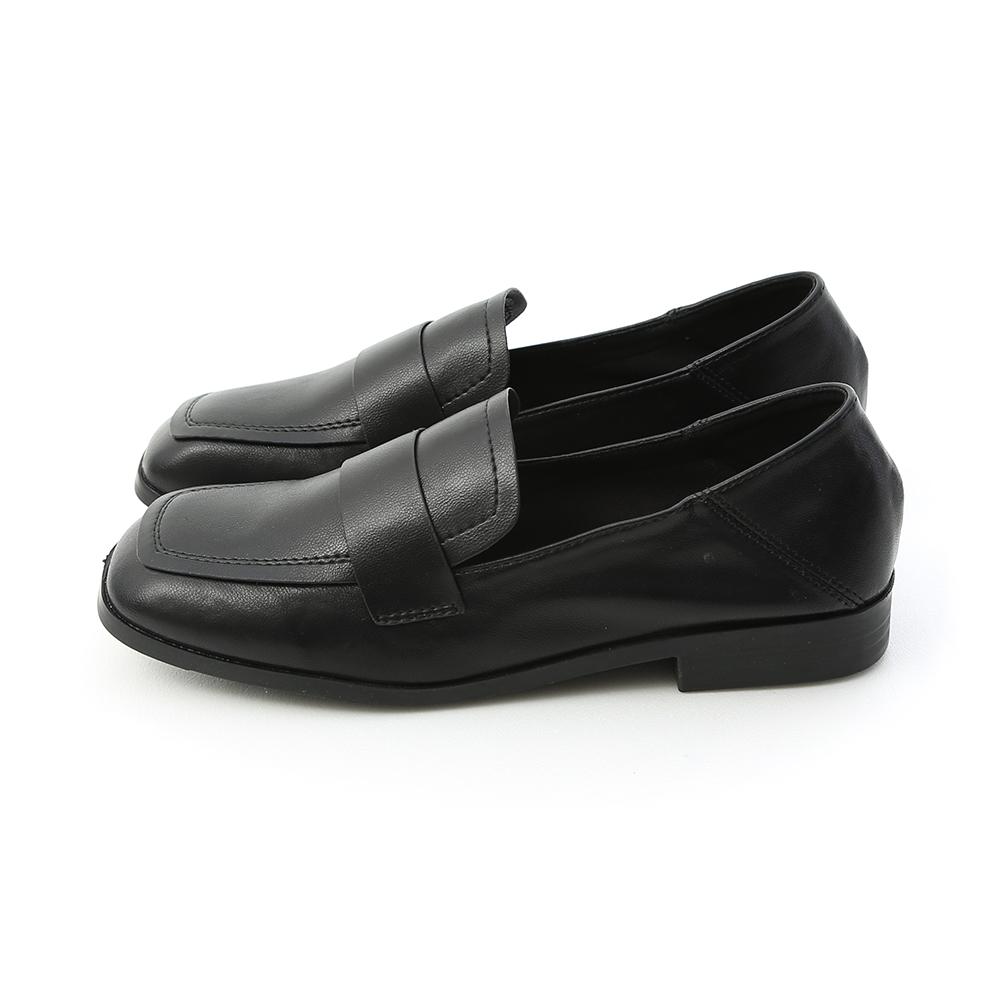 學院印象.復古方頭可後踩樂福鞋 時尚黑
