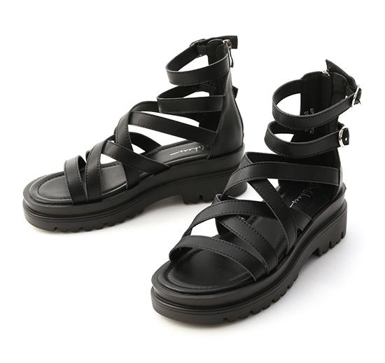 暗黑少女.交叉設計厚底羅馬涼鞋 時尚黑