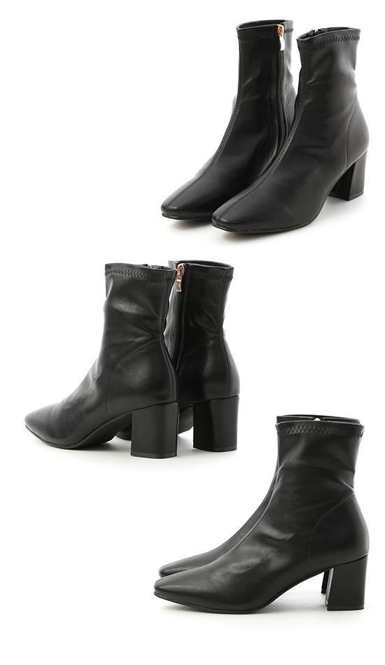 Plain High Heel Sock Boots Black