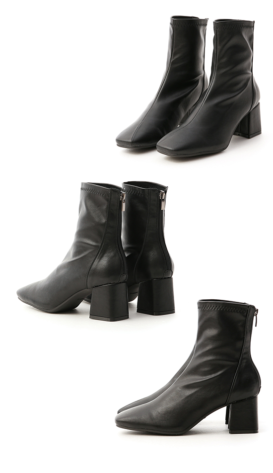 Faux Leather Square Toe Socks Boots Black