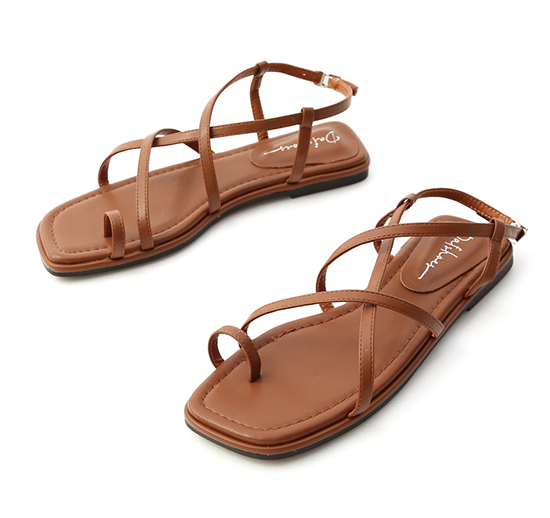 Cross Strap Toe Loop Sandals Brown