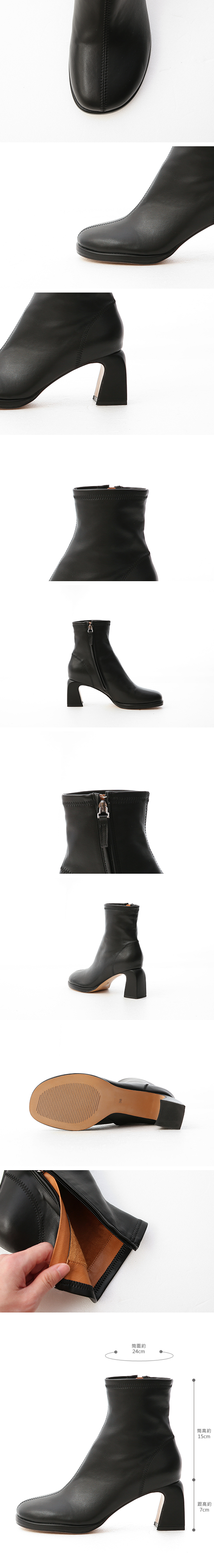 Round Toe Curved Heel Boots Black
