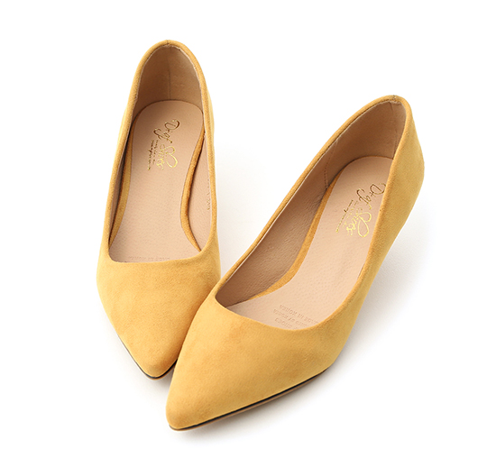 Plain Faux Suede Pointed Toe Low Heels Yellow
