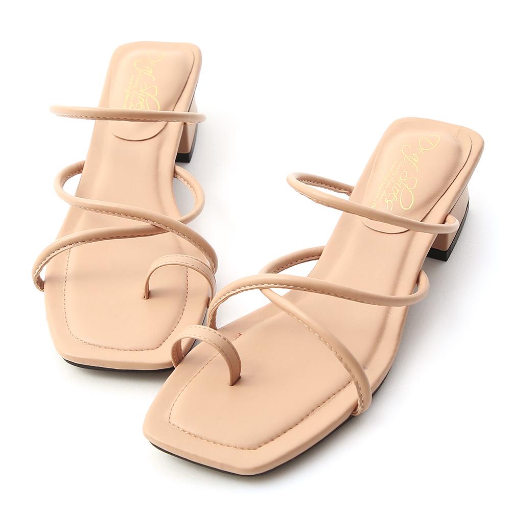 涼夏氣息.交叉細帶套指低跟涼鞋 裸膚粉