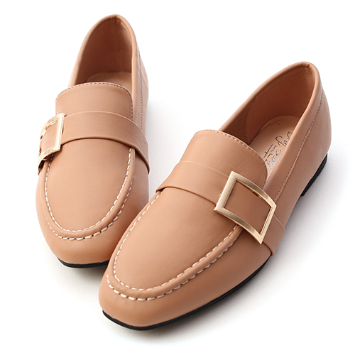 品味生活.金屬大方釦平底樂福鞋