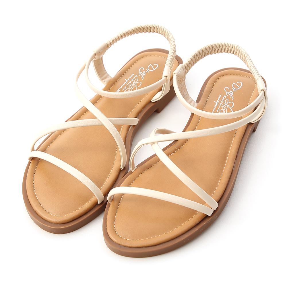 清涼一夏.交叉細帶平底涼鞋 香草白