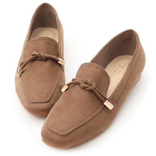 秋氛輕著.小金飾綁結絨料樂福鞋