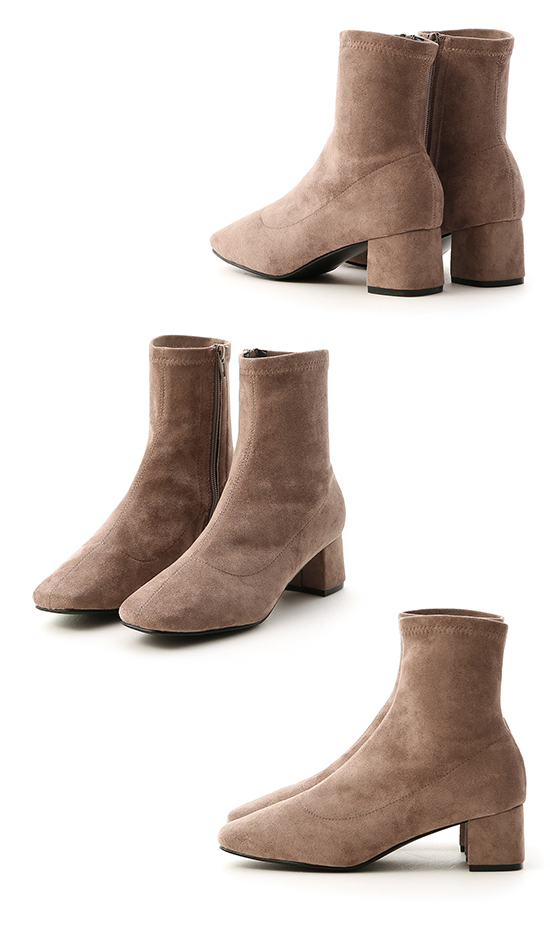 Square Toe Sock Boots Brown