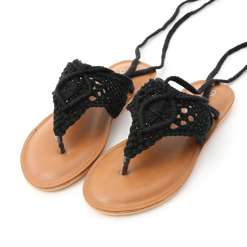 波西米亞.手工針織綁繩夾腳涼鞋 時尚黑