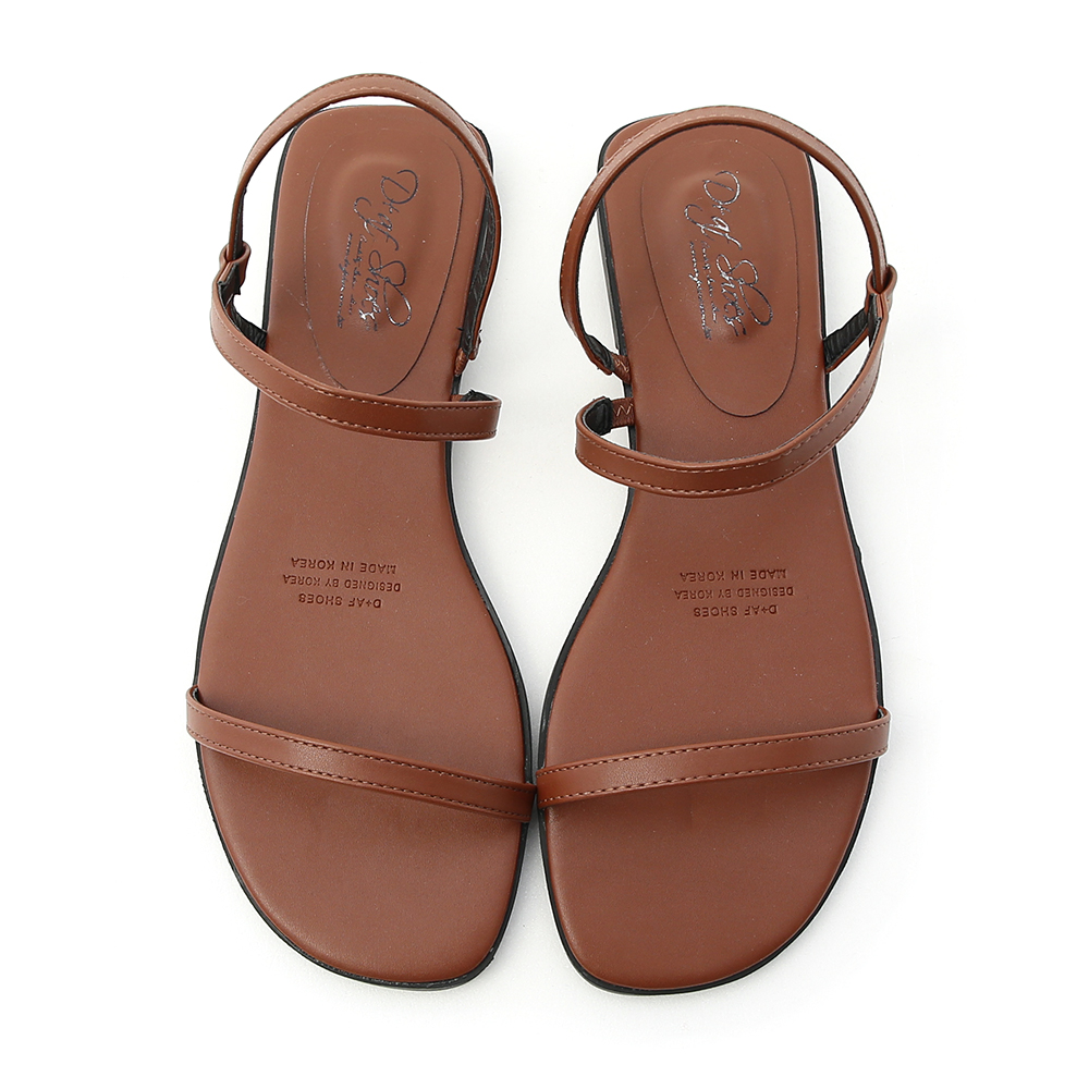 Strap Flat Sandals Brown