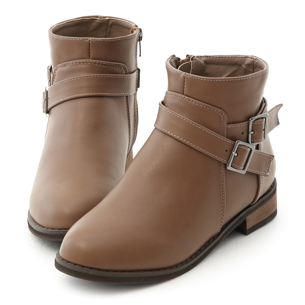 Side Buckle Ankle Boots Brown