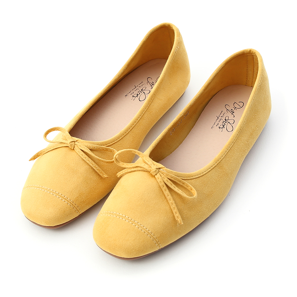 輕快舞曲.繽紛絨料芭蕾娃娃鞋 櫻草黃