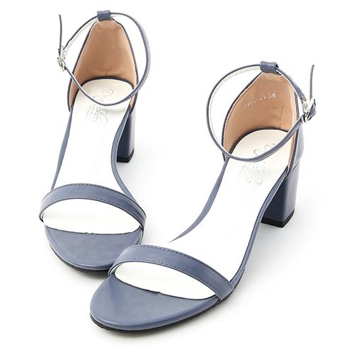 D+AF 恬靜夏氛.簡約一字繫踝中跟涼鞋
