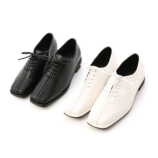 Square Toe Low Heel Oxford Shoes Black