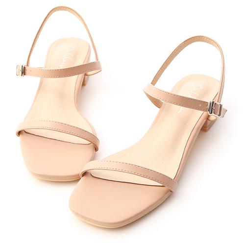 夏氛簡約.一字細帶方頭低跟涼鞋