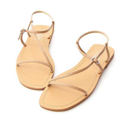 Buckle Thin Strap Sandals Beige