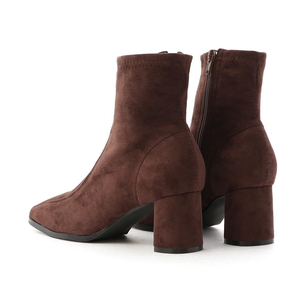 品味宣言.雙摺線設計高跟襪靴 復古咖