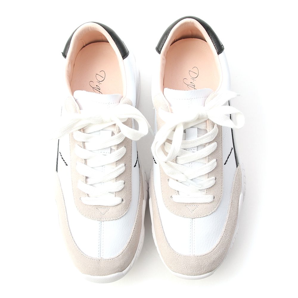 Suede Panel Leather Chunky Sneakers White