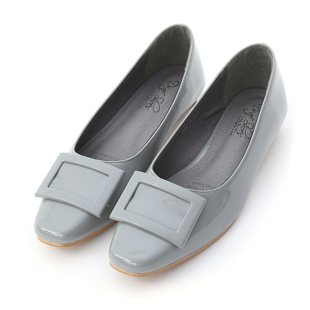 Square Buckle Patent Leather Flats 霧藍灰