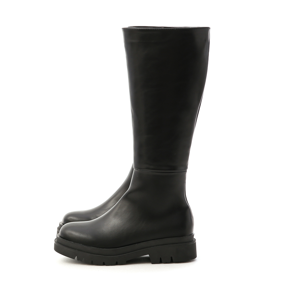 Thick Sole Knee-High Boots Black