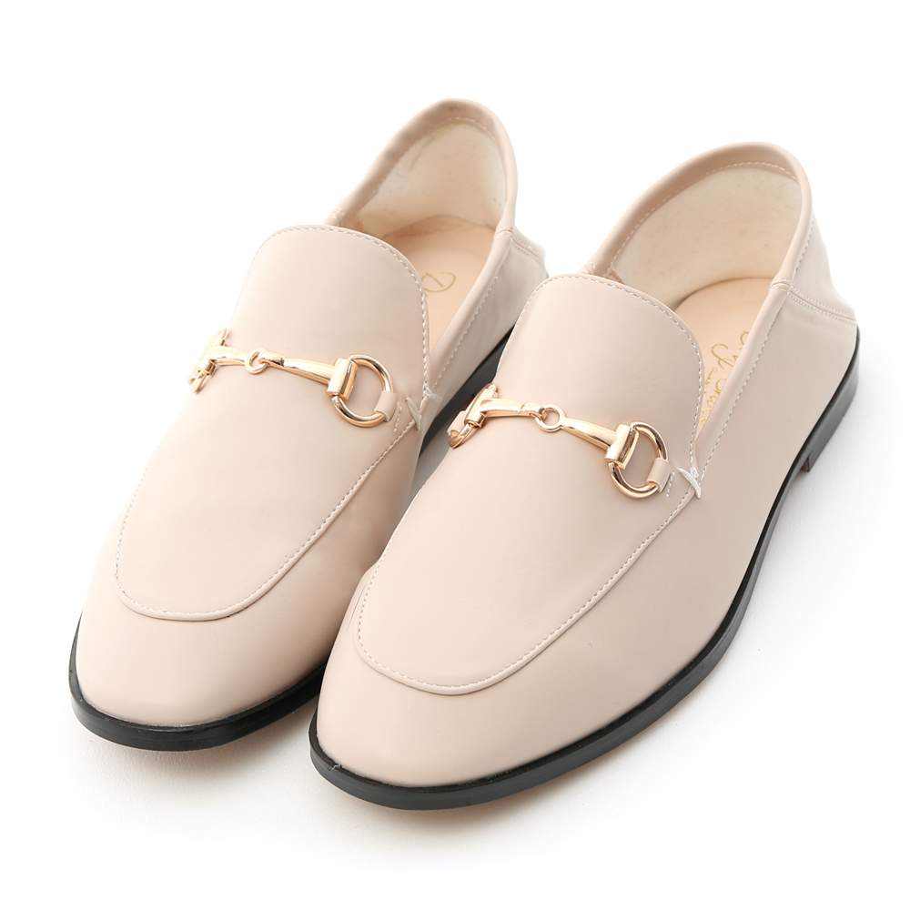 Horsebit Fold Back Dress Shoes Beige