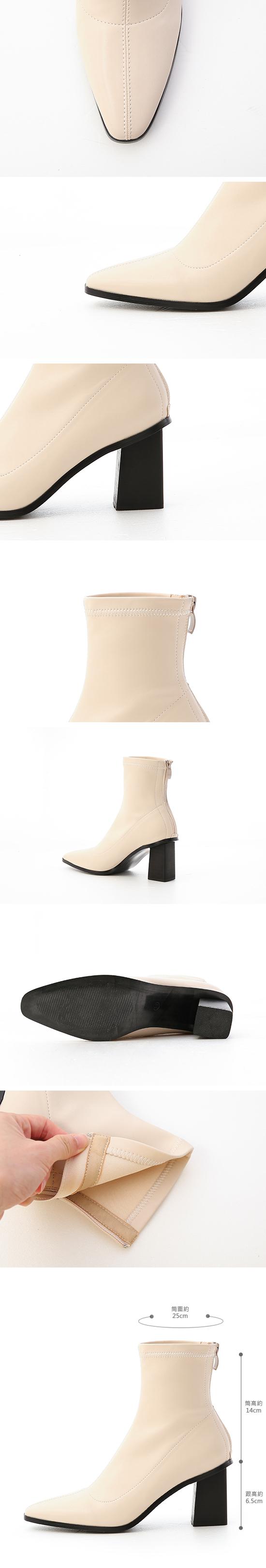 Black Stacked Heel Ankle Socks Boots Vanilla