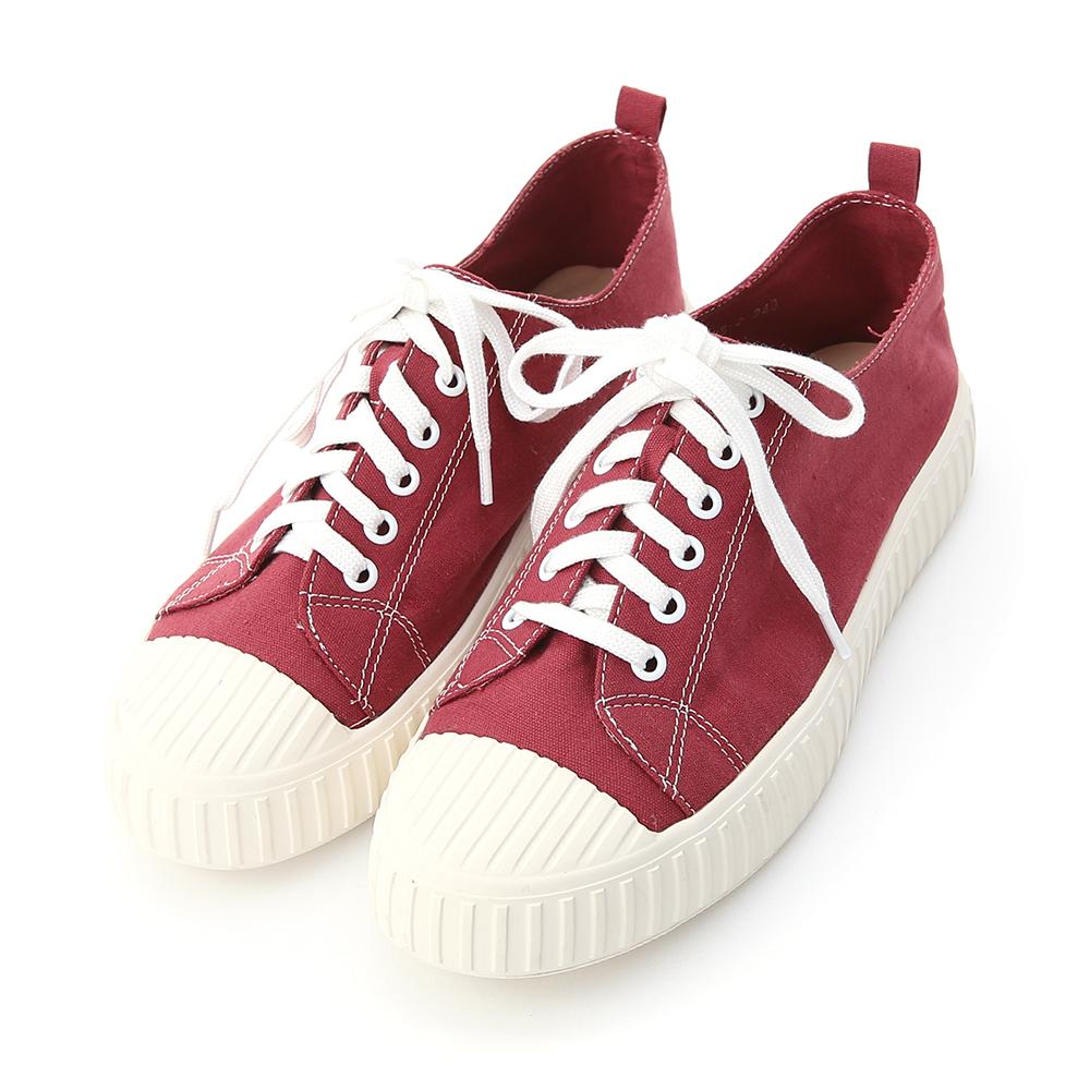 玩色趣味.多色帆布休閒餅乾鞋 莓果紅