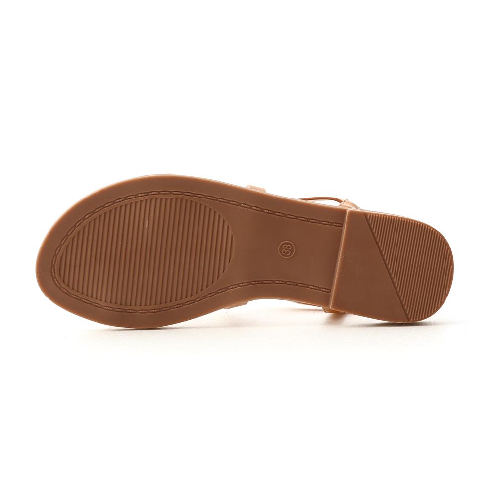 微甜色調.交叉細帶軟Q底涼鞋 焦糖棕