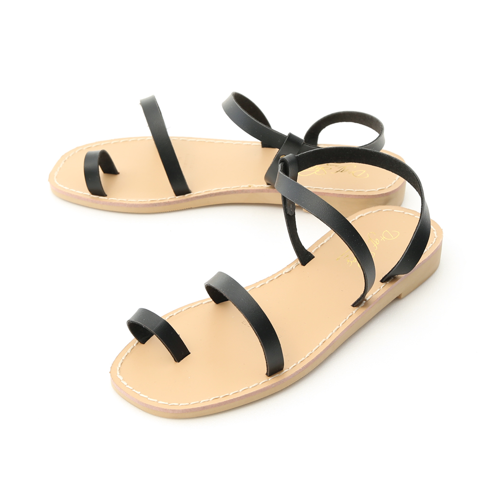 簡單美學.一字細帶套指平底涼鞋 時尚黑