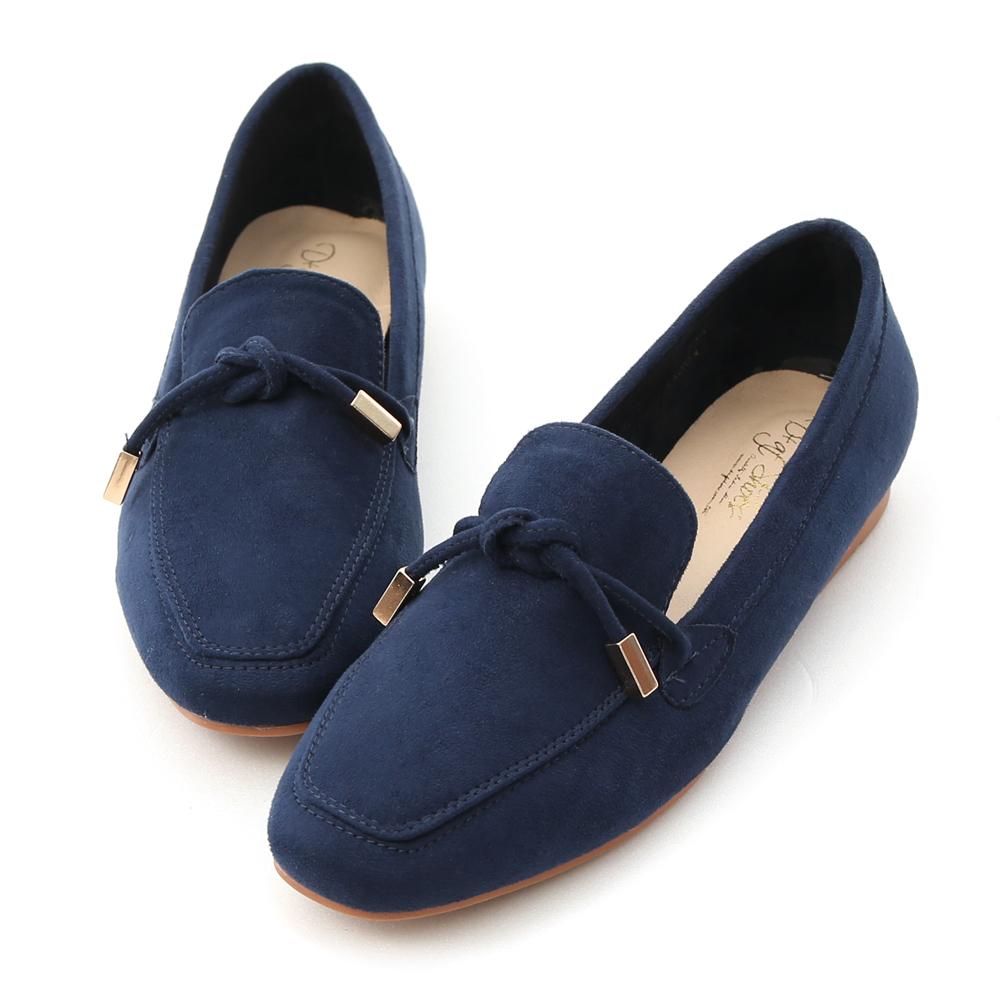 秋氛輕著.小金飾綁結絨料樂福鞋 學院藍