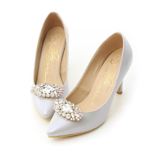 幸福典藏.華麗寶石釦飾美形高跟鞋 貝殼灰