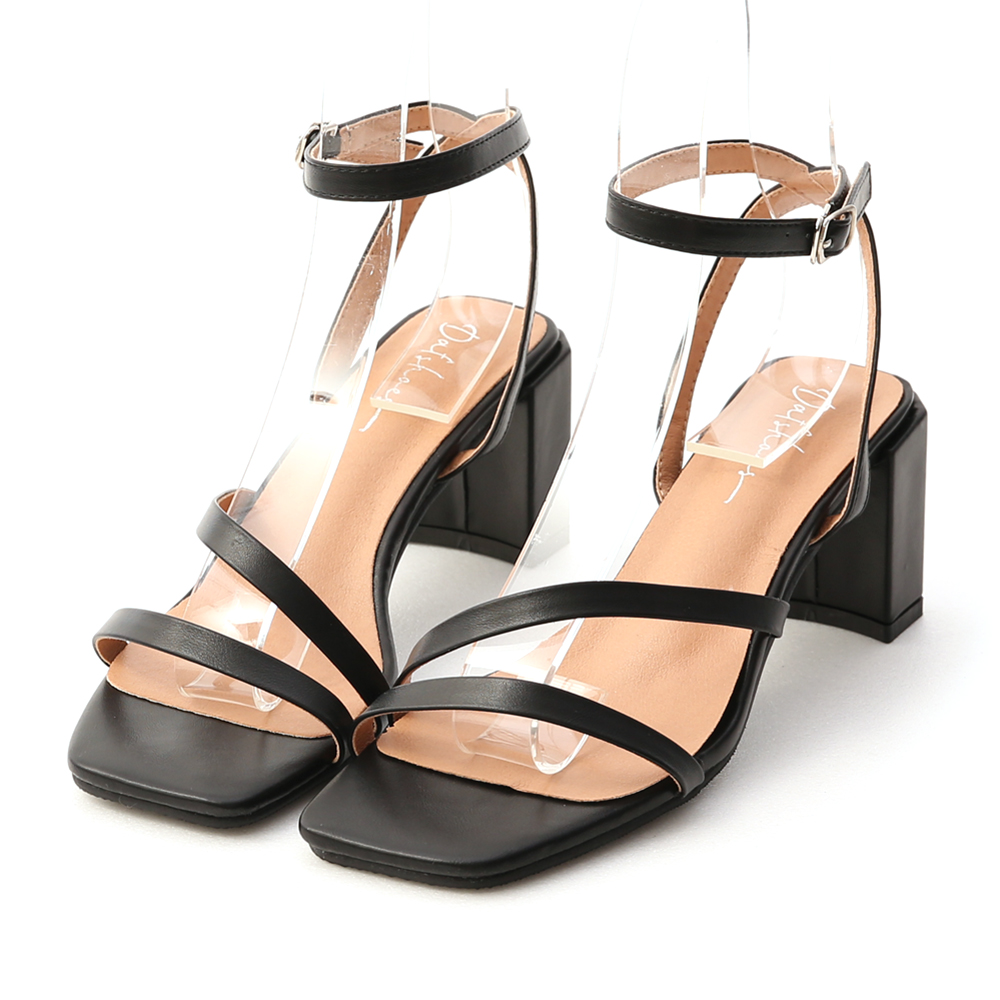 名模私著.一字斜帶繫踝高跟涼鞋 時尚黑