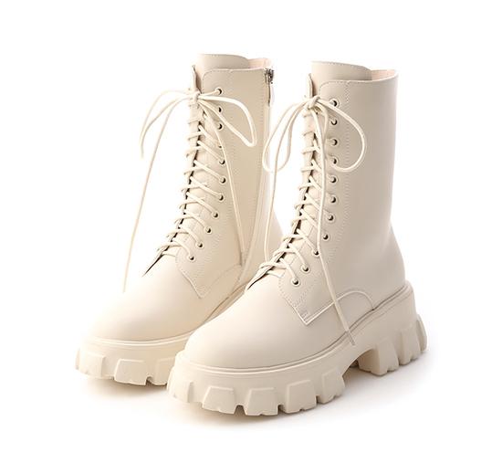 酷派個性.超輕量綁帶鋸齒靴 香草米