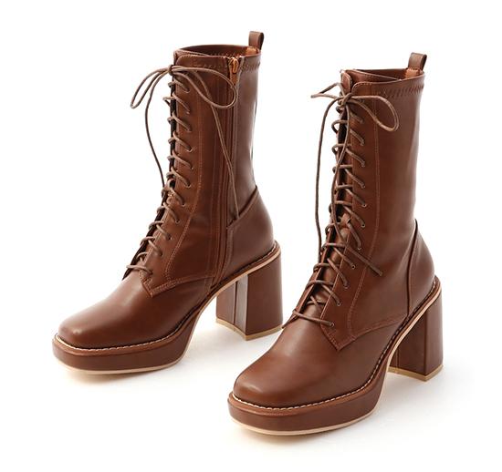 微辣個性.加厚水台方頭綁帶短靴 焦糖棕