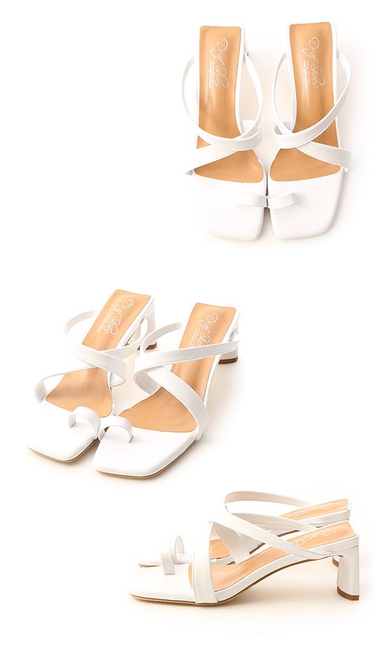 Cross Strap Toe Loop Heel Sandals White