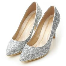 滿滿亮片美型尖頭高跟鞋 閃耀銀
