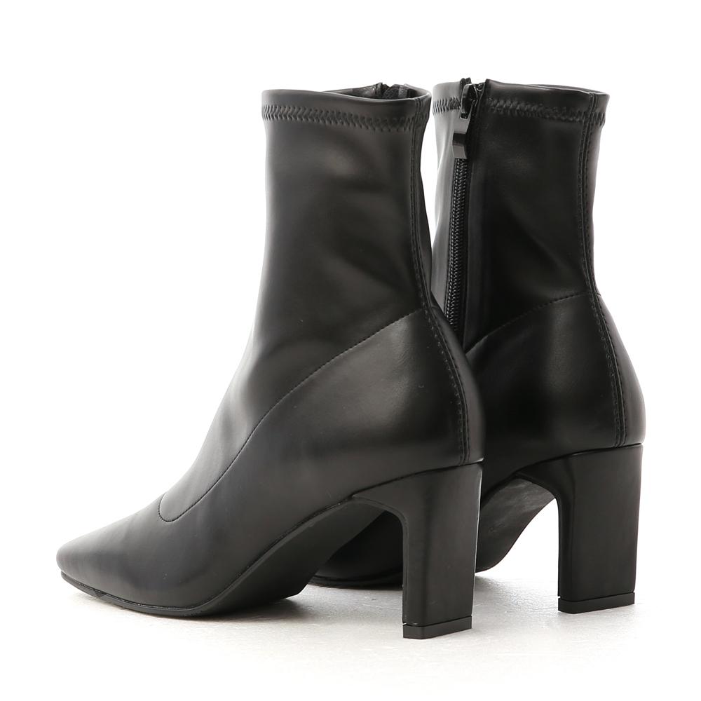 Vintage Square Toe Flat Heel Socks Boots Black